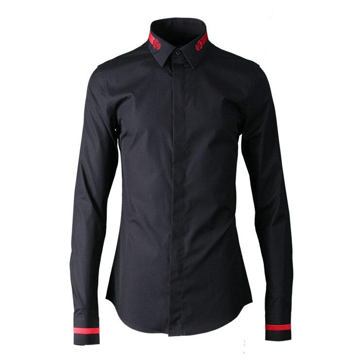 Nuovo arrivo mens Classic Ricamato Fan Internazionale Moda Uomo Casual camicie maniche lunghe in cotone taglia Ml XL 2XL 3XL 4XL-in Camicie casual da Abbigliamento da uomo su  Gruppo 1