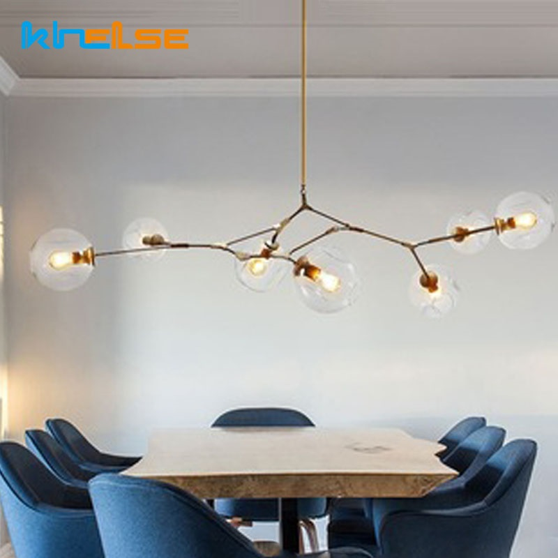 цена на Modern Branching Bubble Chandelier Minimalist Norbic E27 Glass Ball Chandelier Light Pendent Lamp Creavtive Restaurant Lighting