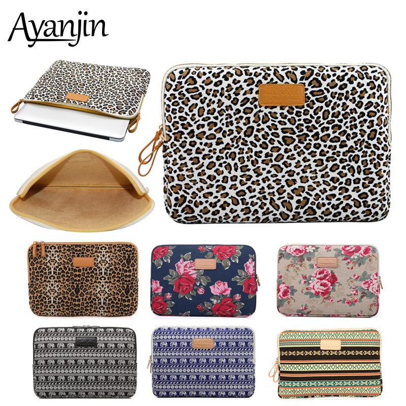 Leopard Canvas Laptop Sleeve Men Women Bag 14 For Macbook Air 13 2018 Case Pro11 12 15 Cover For Xiaomi Samsung Asus Lenovo Dell