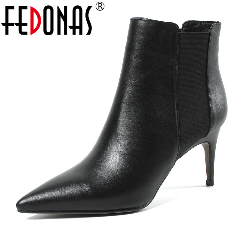 FEDONAS Basic Boots Women High Heels Autumn Winter Party Wedding Shoes Woman Pointed Toe Office Pumps New Autumn Ankle Boots elegant women low high heels ankle boots pointed toe patchwork autumn winter shoes woman basic motorcycle boots dr b0038