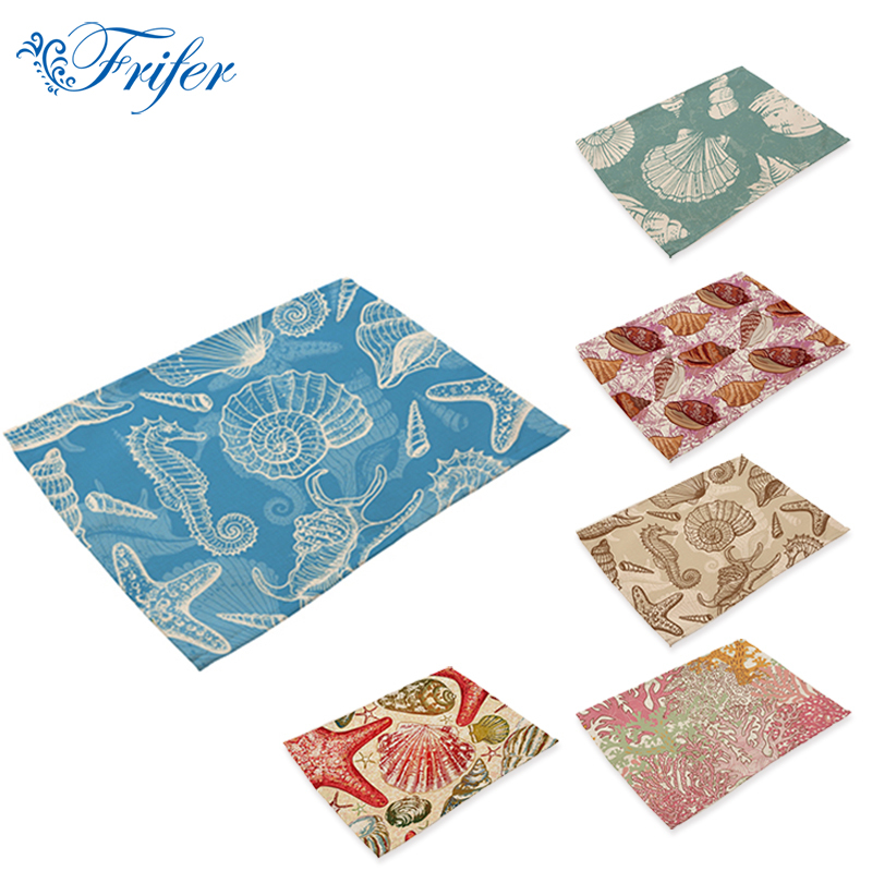 Western Placemat 42x32cm Shell Conch Patten Pad Square Cotton Linen Mats Heat Insulation Dining Table Mat Bowls Coffee Coasters