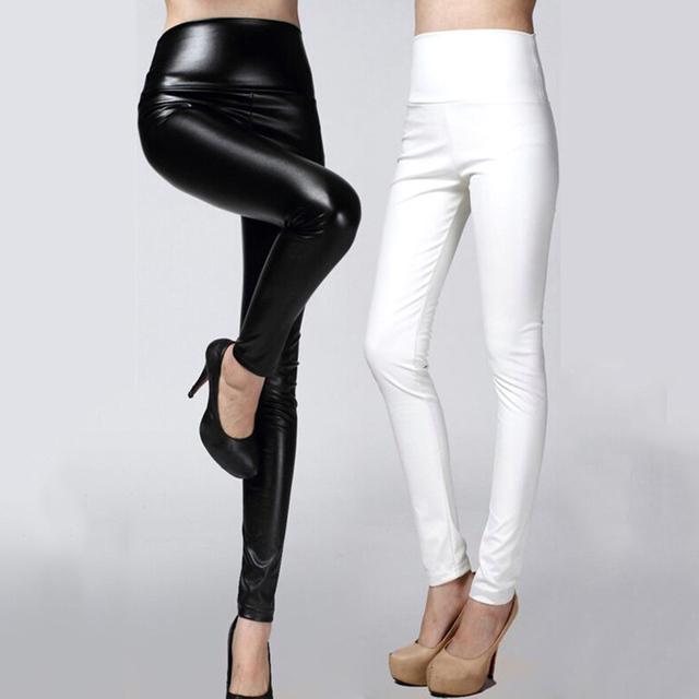 2016 Mujeres delgadas Pantalones de Cuero otoño de la alta cintura Delgada elástico de LA PU pantalones lápiz para mujer negro blanco