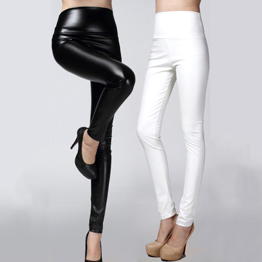 049a90bcda 2018 Women Leather Pants thin spring autumn high waist Slim elastic PU  pencil pants for woman black white-in Pants & Capris from Women's Clothing  on ...