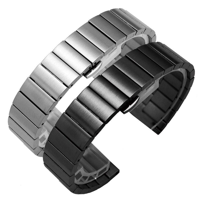 Bracelet de montre acier inoxydable massif 16mm 18mm 20mm 22mm argent noir métal brossé bracelets de montre Bracelet Relogio Masculino
