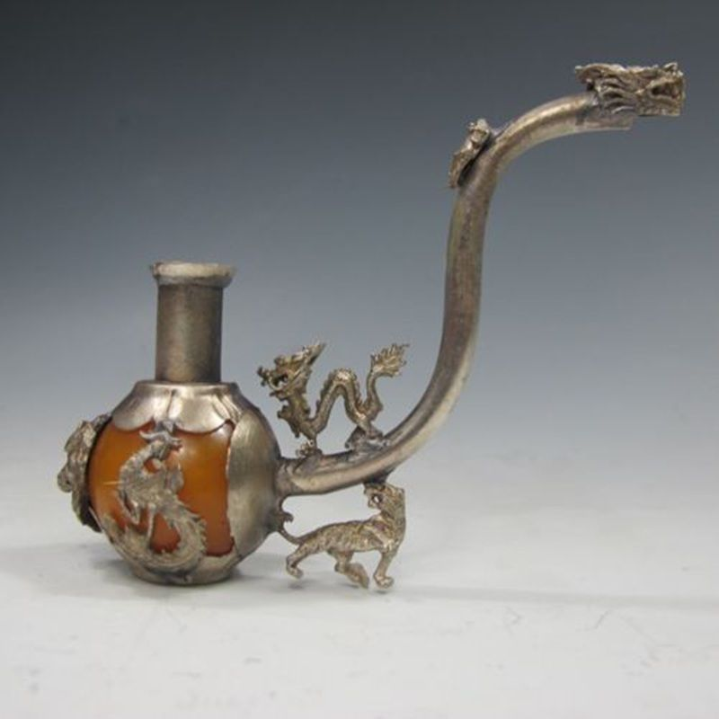 Collectibles Chinese Old Antiques Handmade Jade silver Pipe Leading