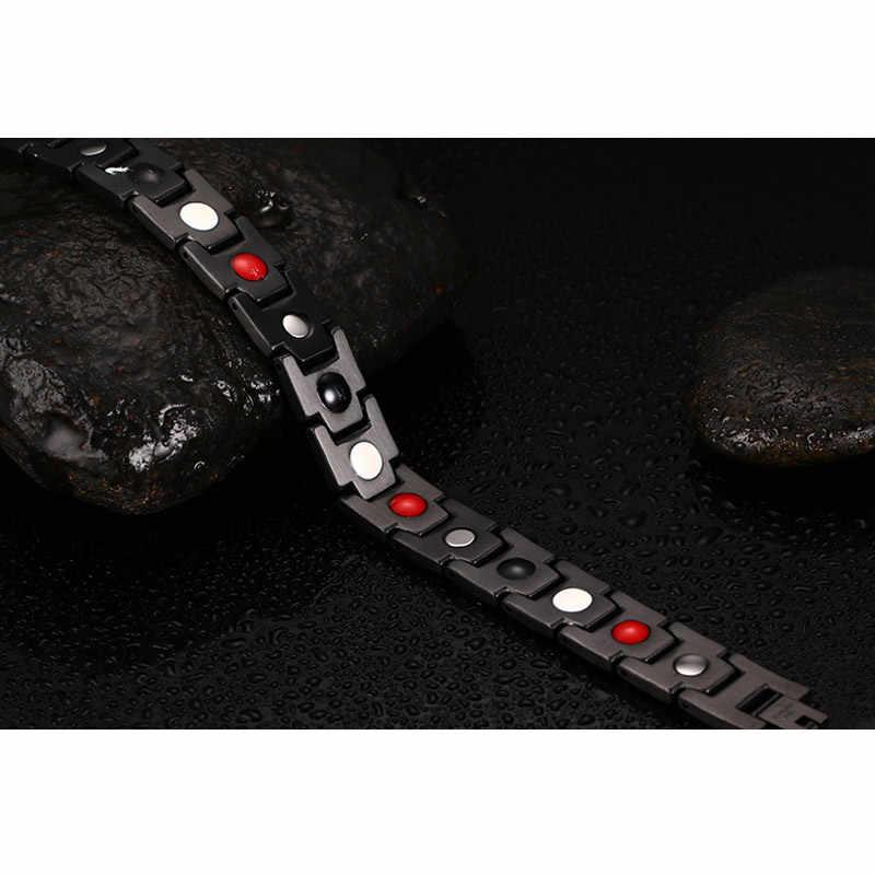 Vnox DIY Регулируемый Черный Для Мужчин's Нержавеющая сталь длинные Браслеты Магнитная Здоровье и гигиена ювелирные изделия