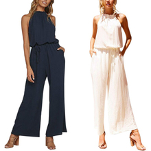 Sexy Backless Sleeveless Jumpsuit Women Solid Lace-up High-waisted Jumpsuits Fashion Slim Fit vadim lace up high waisted high low skirt