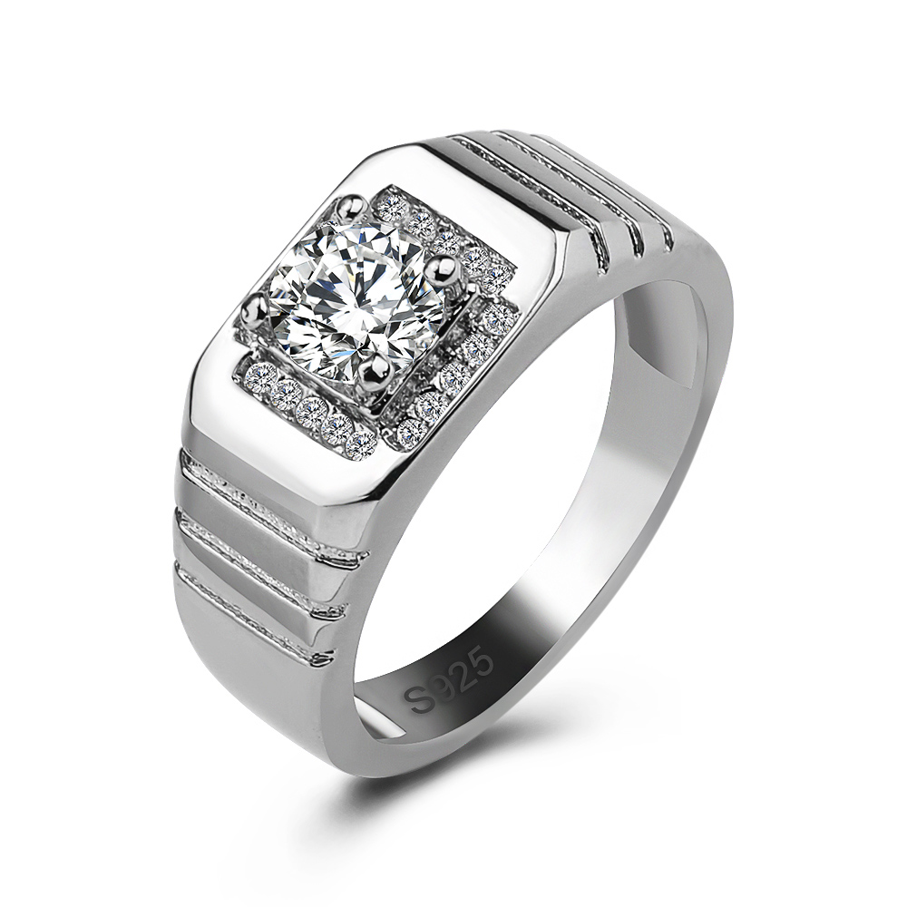 Huitan Classic Men Ring Wedding Engagement Official For With Clear CZ Stone Popular Stylish Anniversary