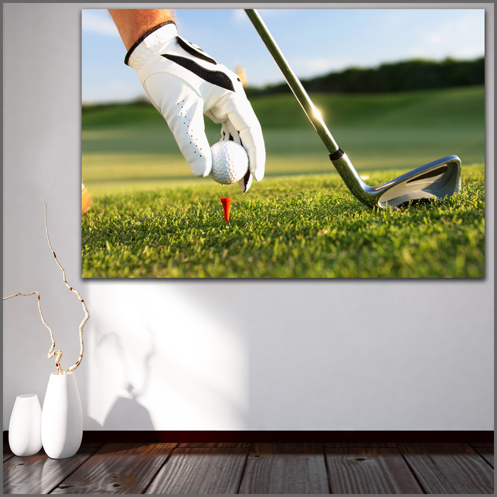 Wall Art Motivational Closeup Golf Field Glove Ball Modern Oil Painting Gym Art Posters print for room wall Decor no frame WLONG