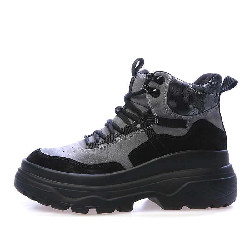 STQ 2019 kış kadın motosiklet botları kadın platform sneakers kadınlar yüksek kama sneakers kauçuk yürüyüş botları ayakkabı 903
