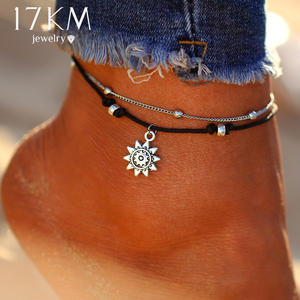 17KM Vintage Boho Beads Anklets For Women Chain Foot