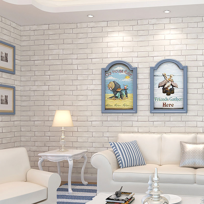 d non tiss blanc brique mur papier peint imitation pierre. Black Bedroom Furniture Sets. Home Design Ideas