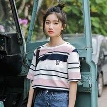 2019 Sweet style Stripe Embroidery Short Sleeve T Shirt Women Summer Casual Loose Tee Shirt Harajuku Femme To