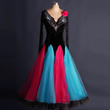 Ballroom Competition Dance Wear Lady's New Shiny Diamond Long Sleeve Stage Waltz Tango Modren Ballroom Dresses Women