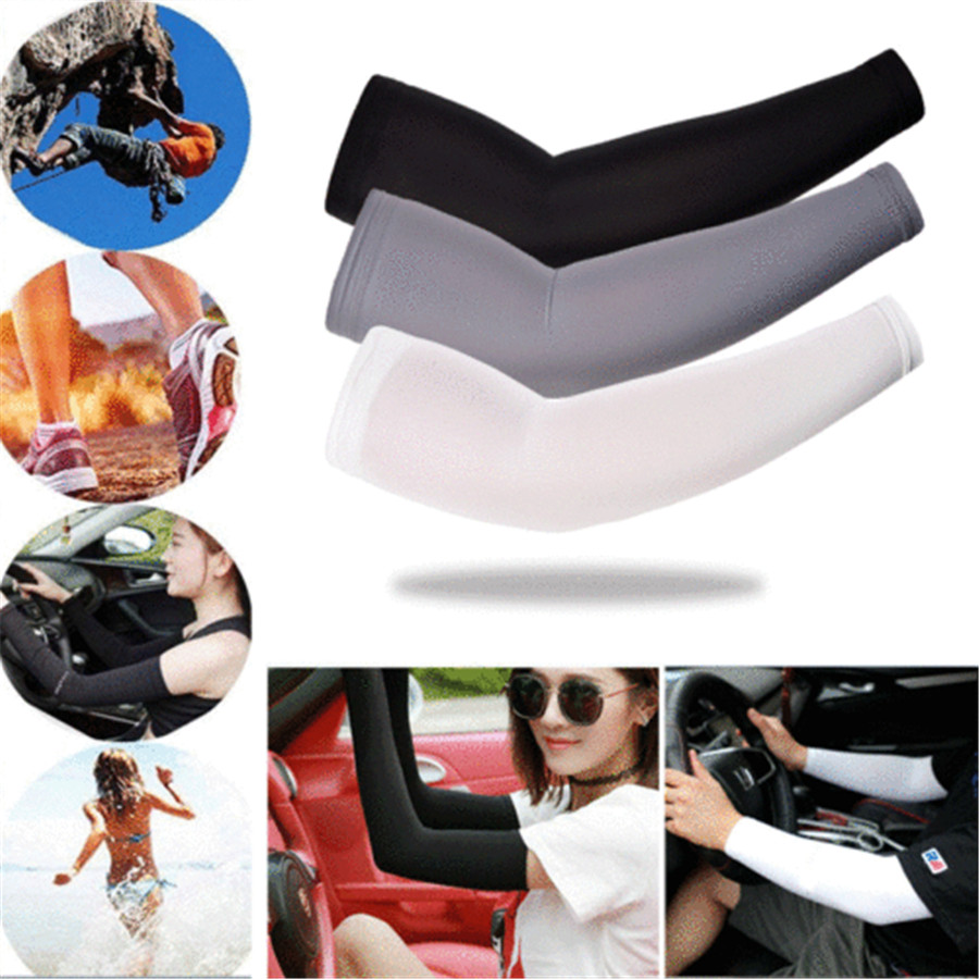 1 Pair Ice Fabric Arm Sleeves Mangas Stretch Long Sleeves Sports Cycling Golf Running Arm UV Protection Sun Covers