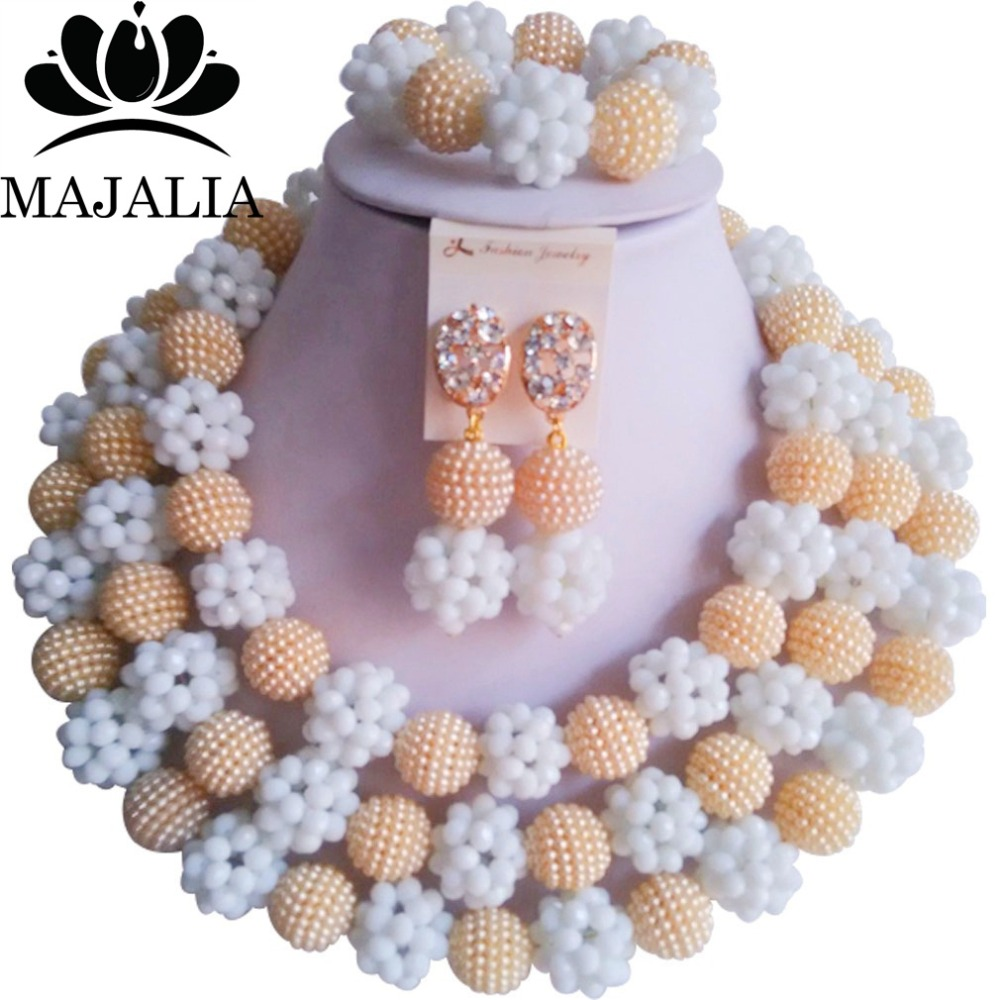 купить Fashion african wedding beads beige plastic nigerian wedding african beads jewelry set Free shipping Majalia-270 по цене 2877.65 рублей