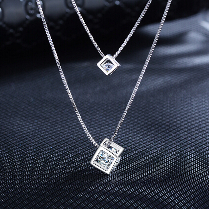 925 Sterling Silver Square Cube Rhinestones Choker Statement