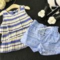 Meninas Roupas de Verão Definir Bolo Sem Mangas Chiffion Shirt + Calças Do Bebê Meninas Roupas Set Crianças Crianças Roupas Elstic Novo Syle