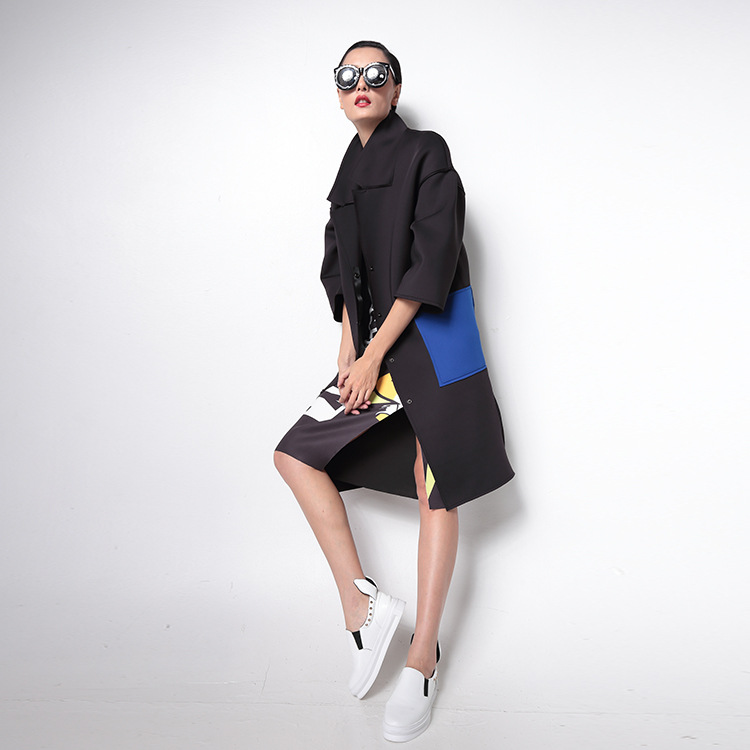 Conception Hit Tranchée vent Mince Nouveau Femmes Patch Noir Coupe Manteau Big Imprimer 2016 Personnalité Pocket Couleur twotwinstyle YqxOpw7