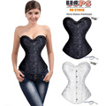 FLORATA Hot Sale Good Quality Women Sexy spiral steel boned Waist Trainer Overbust lace up corset bustier Top