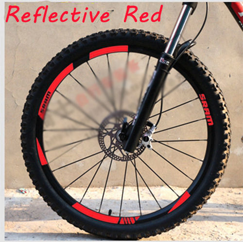 6ea8dc5ce91 SRAM MTB Wheel rim Stickers for SRAM replacement Reflective Fluo Race  Cycling dirt vinyl rim decals