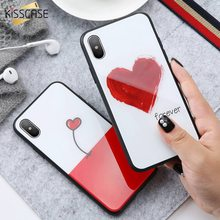 KISSCASE Tempered Glass Case For iPhone X 10, Full Coverage HD Tempered Glass Cases For iPhone 8 7 6 6s Plus Glitter Cover Coque(China)