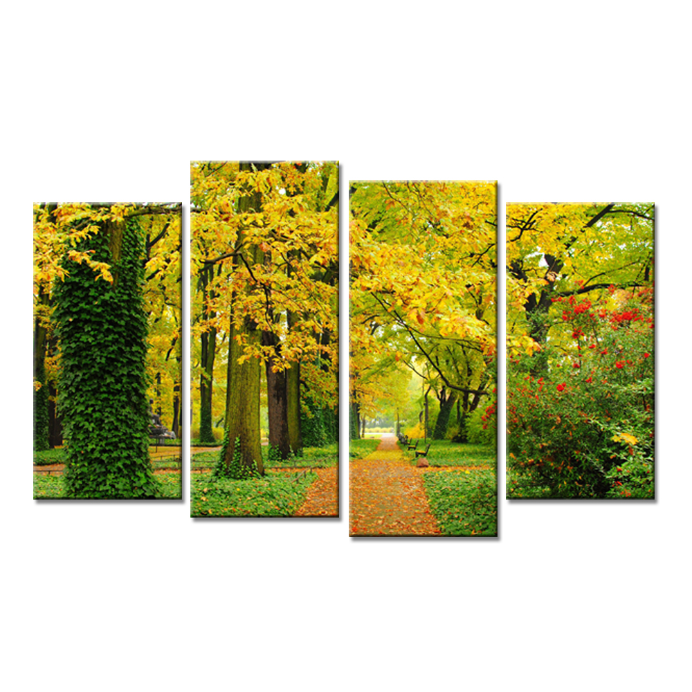 4 Panels Landscape Autumn Trees Maple Leaf Modern Wall Painting ...