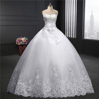 Sweetheart wedding dress 2018 spring summer new fashion Korean Plus sizes Puffy bride married dress lace floor length