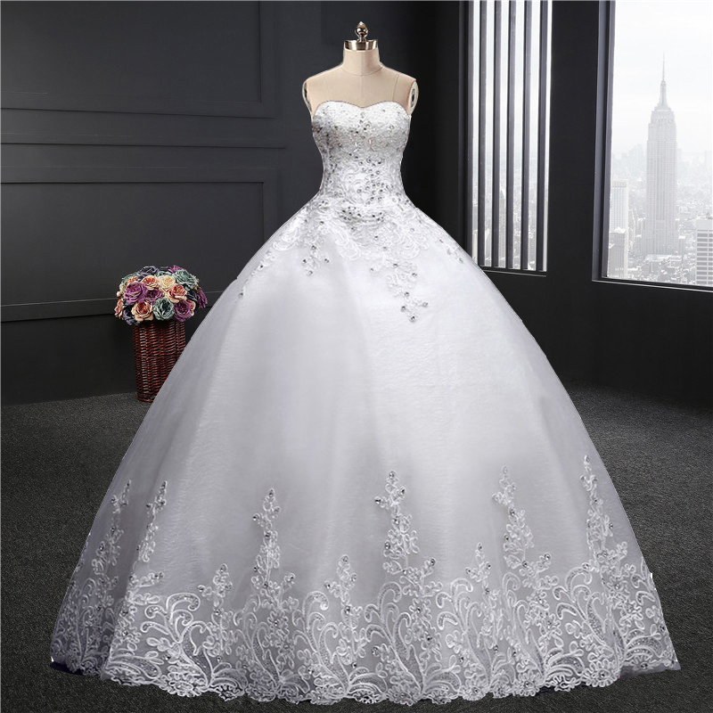 Sweetheart Wedding Dress  Spring Summer New Fashion Korean Plus Sizes Puffy Bride Married Dress Lace Floor Length