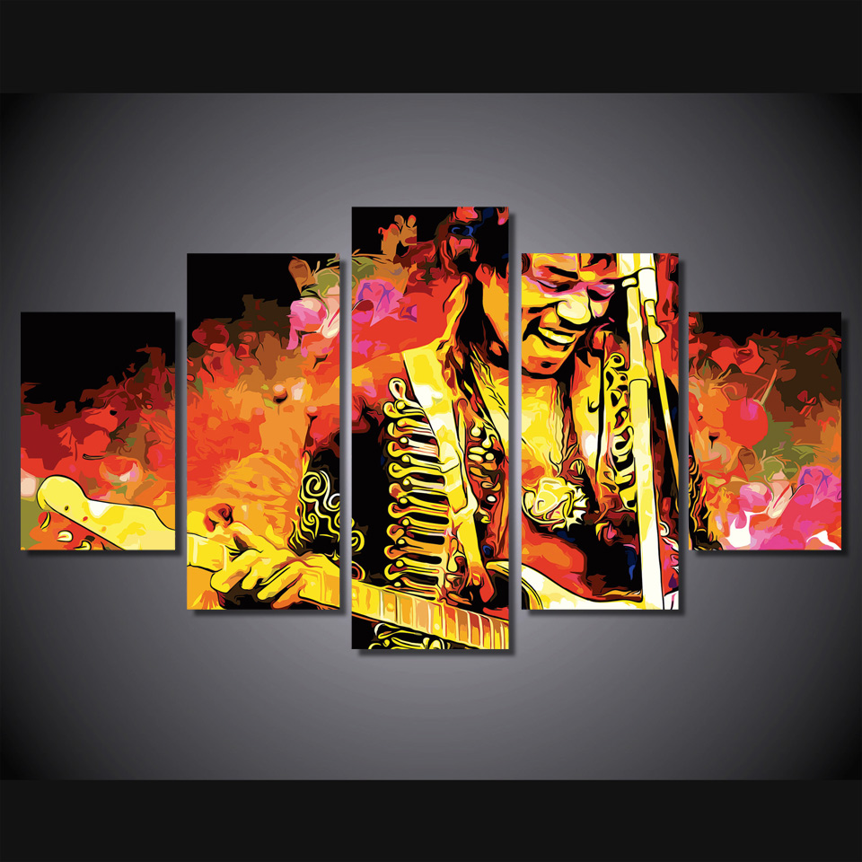 5 Teile/satz Gerahmte HD Gedruckt Jimi Hendrix Musik Gitarrist Bild ...