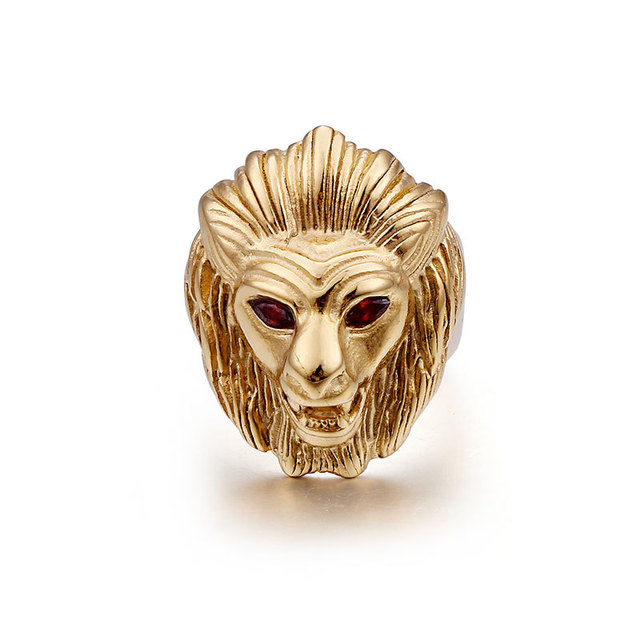 Europe and the United States fashion rock hip-hop jewelry Golden domineering  red-eye lion head titanium steel punk men s ring dca0e61ef0f3