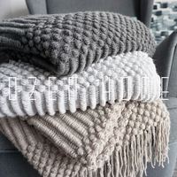 Plaid Fleece Throw Blanket Northern Europe Solid Hubble bubble Blanket Carpet Sofa Blanket Knitted Plaid Knitted Blanket