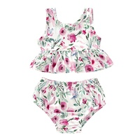 NewPullover Summer Baby Girl Casual Sleeveless Tops Floral Print T shirt With Briefs PP Shorts Outfits Set 70/80/90/100