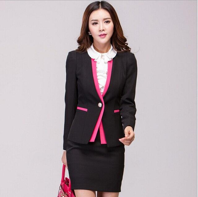 New Elegant Black Patchwork 2015 Femininos Plus Size XXXL Fashion Slim Professional Work Suits With Skirt Beautician Uniforms
