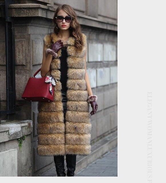 Pieles de invierno de las mujeres chaleco elegante camello Faux Piel de abrigo  2017 nueva Faux d3449f51ff77