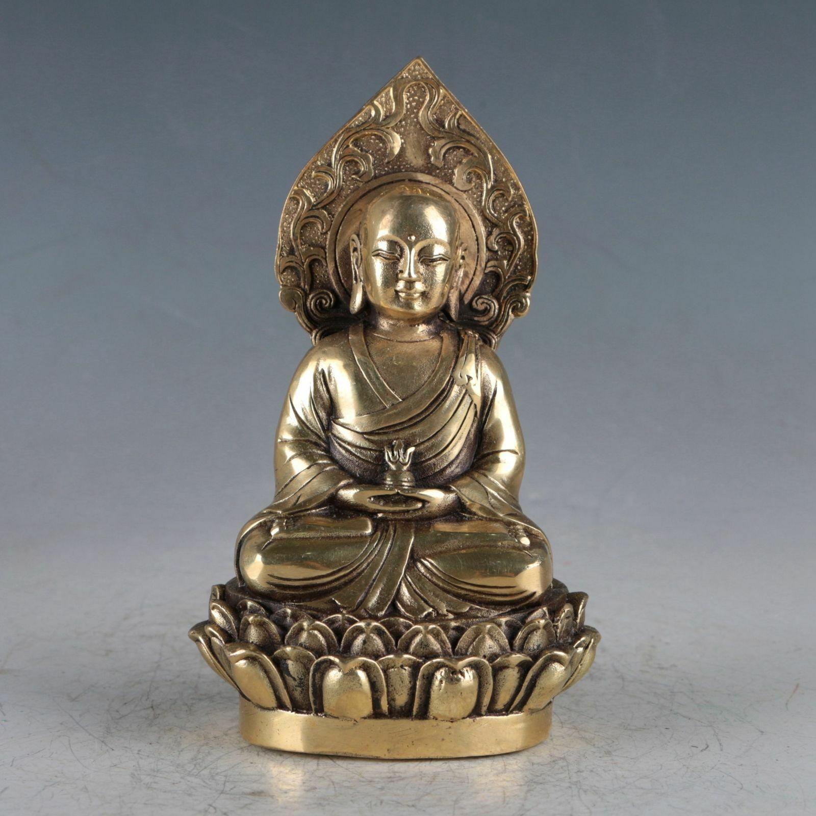 Chinese Brass Tibetan Buddhism  Handwork Carved  garuda bird Buddha Statue