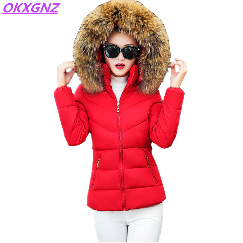 Short Down Cotton Jackets Winter Women Thick Warm Coat New Fashion Hooded Fur Collar Outerwear Plus Size Slim Parkas OKXGNZ A336 new women winter cotton jackets long coats hooded fur collar parkas thick warm jacket plus size female slim outerwear okxgnz1072