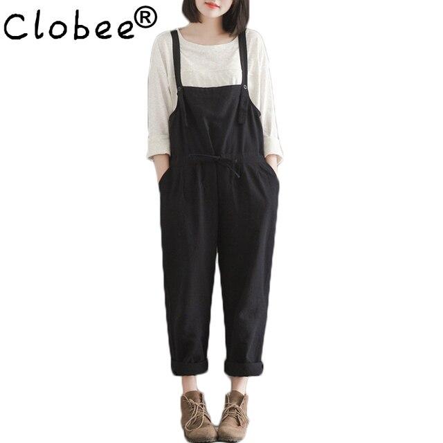 bc18a23eac0 Plus Size Casual Black Cotton Linen Overalls Pants Women Students Slim Wide  Leg Harem Rompers Pants Pantalones 2017 New Fashion