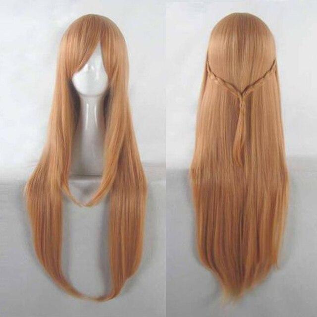 Anime Sword Art Online Yuuki Asuna peruk SAO Yuki Asuna uzun turuncu isıya dayanıklı sentetik saç Cosplay peruk + peruk kap