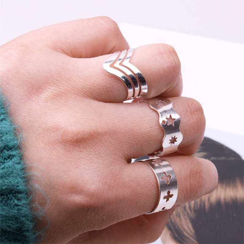 G1001 3pcs/set Vintage Bohemian Midi Finger Rings Set for Women Cross Star Adjustable Opening Knuckle Rings Men Ethnic Jewelry