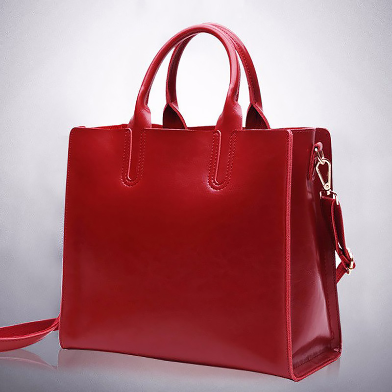 Women genuine leather handbags casual zipper shoulder bags solid color crossbody bag tote female fashion red