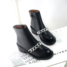 Women's Flats Ankle Boots Genuine Leather Spring Autumn Short Booties Chain Punk Female Footwear Shoes for Women Bottine Femme