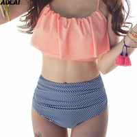 High Waist Bikini 2017 Flounced Swimwear Women Two Piece Swimsuit Striped Bathing Suits Crop Top Biquini