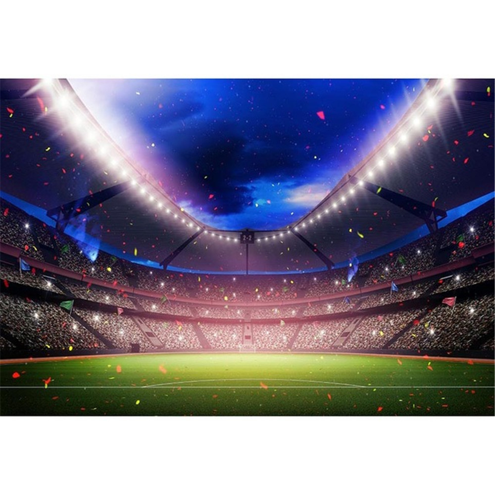 Green Football Field Photography Backdrop Blue Sky Ribbons