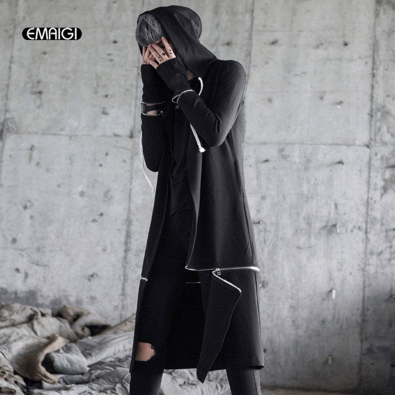 Men High Street Fashion Hip Hop Hooded   Trench   Coat Punk Style Male Casual Long Cardigan Windbreaker Jacket