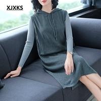 XJXKS Fashion Pure Color High Quality Women's Hooded Dresses Originality Female Loose Style Woman Sleeveless Knitting Dress