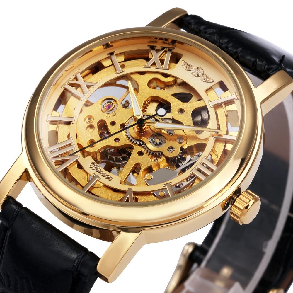 Prix pour NOUVEAU Gagnant Hommes Montre Mécanique Main-vent Mode Casual Bracelet En Cuir Analogique Marque D'affaires Montre-Bracelet Argent Or Couleur MW074M