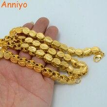 Anniyo długość 53 CM/83 CM/200 CM szerokość 9 MM, etiopskie grube naszyjniki kobiety złoty kolor afryka erytrea mężczyźni łańcuch dubaj Arab #046506