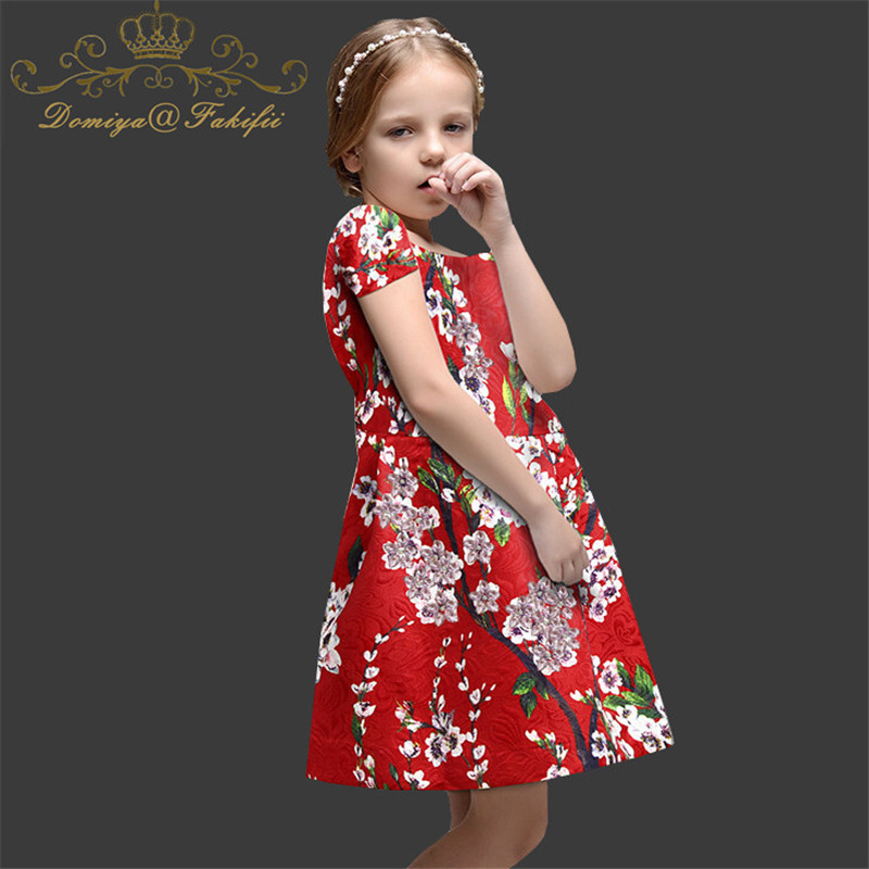 Girls Princess Dresses Summer 2018 Children Clothes Printed Flowers Vestidos Stylish Children Clothing 14 Years Karneval Costume fluffy curly light pink synthetic vocaloid luka and ruka dargon style cosplay wig