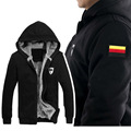 Winter Men's Hoodies Sweatshirts Male Hooded Embroidery & Print Germany Russia France FLAG Zipper Protector Men Coat